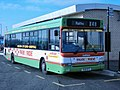Lothian Buses bus 168 Dennis Dart SLF Plaxton Pointer 2 V168 EFS Harlequin livery Park and Ride branding.jpg