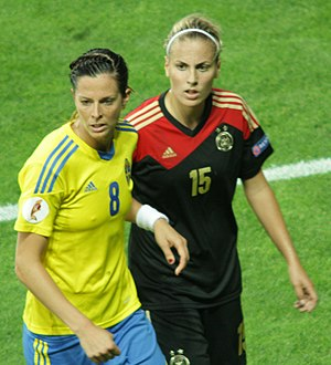 Lotta Schelin - Marked by Germany's Jennifer Cramer in the Euro 2013 semi-final