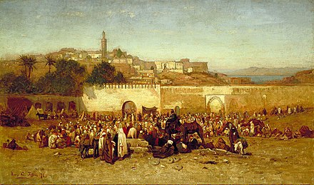 Tangier's population included 40,000 Muslims, 31,000 Europeans and 15,000 Jews. Louis Comfort Tiffany - Market day outside the walls of Tangiers, Morocco.jpg