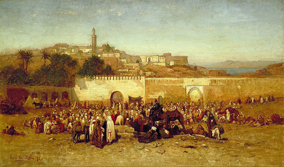 Louis Comfort Tiffany - Market day outside the walls of Tangiers, Morocco
