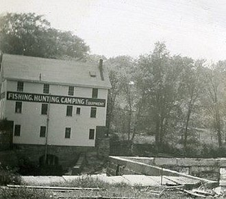Yarmouth, Maine - Lower Falls and the building which is now 1 Main Street, viewed from what is now Grist Mill Park