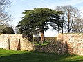 Lowered wall separating old and new churchyard - geograph.org.uk - 1602556.jpg
