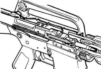 .223 Wylde chamber - Diagram of an AR type rifle showing the location of the chamber
