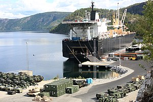United States Marine Corps Forces, Europe - Vehicles and equipment being offloaded in 2014 as part of the modernization of the US Marine Corps materiel stored in Norway