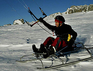 Peter Lynn - Ben Deacon tests the KiteSled, Thredbo, 2005