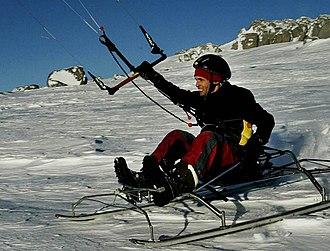 Peter Lynn - Ben Deacon tests the KiteSled, Thredbo, 2005
