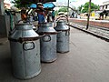 MS 42 L Milk Containers - Simurali Railway Station - Nadia 20170730150134.jpg