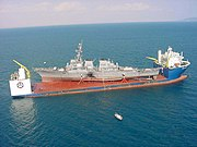 Semi-submersible MV Blue Marlin carrying the destroyer USS Cole