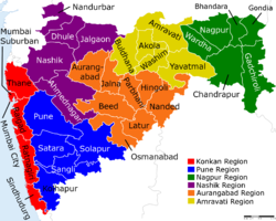 Map of Maharashtra with different regions and districts