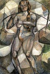 Woman with buckets (Cubist nude).
