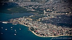 An aerial view of Zanzibar city.