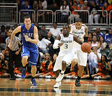 Miami Hurricanes guard Malcolm Grant (3) drives the ball during the game between Miami and Duke at Bank United Center in Coral Gables, Florida.The Duke Blue Devils defeated the Miami Hurricanes 81–71