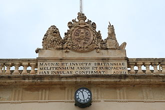 Crown Colony of Malta - The British coat of arms on the Main Guard building in Valletta. The building now houses the Office of the Attorney General.