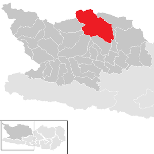 Location of the municipality of Malta (Carinthia) in the Spittal an der Drau district (clickable map)