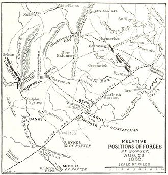 Manassas Station Operations (Stonewall Jackson) - Positions of forces at sunset on 26 August