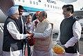 Manmohan Singh being received by the Governor of Maharashtra, Shri K. Sankaranarayanan and the Chief Minister of Maharashtra, Shri Prithviraj Chavan, on his arrival, at Chatrapati Shivaji Airport, Mumbai on November 10, 2012.jpg