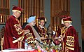 Manmohan Singh receiving a memento from the Vice Chancellor of the Sher-e-Kashmir University during the 5th Convocation of the Sher-e-Kashmir University of Agriculture Sciences and Technology of Kashmir, in Srinagar.jpg