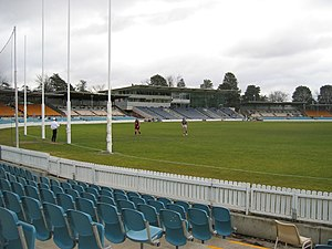Australian rules football in the Australian Capital Territory - Goal posts at Manuka Oval, home of Australian rules football in Canberra