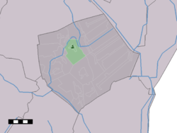 The town centre (dark green) and the statistical district (light green) of Buinen in the municipality of Borger-Odoorn.