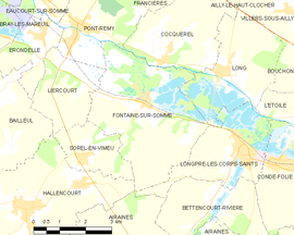 Mapa obce Fontaine-sur-Somme