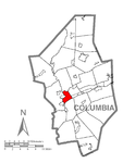 Map of Bloomsburg, Columbia County, Pennsylvania Highlighted.png