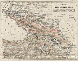 Map of Caucasus Botanical expeditions of N I Kuznetsov, N A Busch & A V Fomin 1888-90.jpg