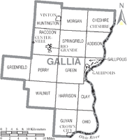 Municipalities and townships of Gallia County