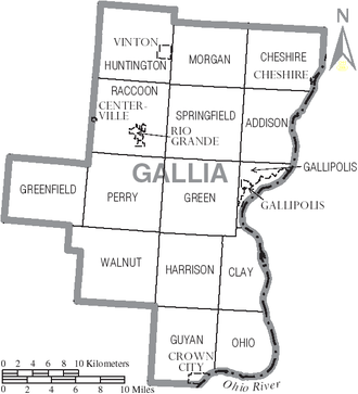 Gallia County, Ohio - Map of Gallia County, Ohio with Municipal and Township Labels