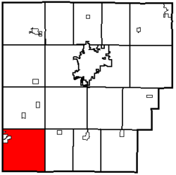 Location of Orange Township in Hancock County