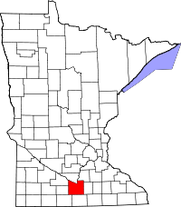 Map of Minnesota highlighting Blue Earth County