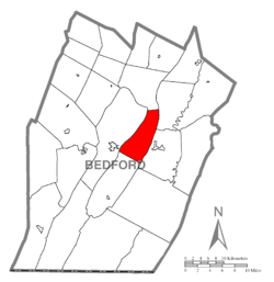 Map of Bedford County, Pennsylvania highlighting Snake Spring Township