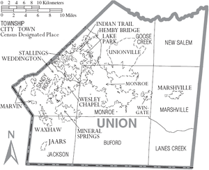 Union County, North Carolina - Map of Union County, North Carolina With Municipal and Township Labels