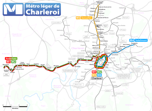 Map of the Charleroi premetro network