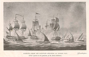 Maratha Navy - Maratha Grabs and Gallivats attacking a British East India Company ship