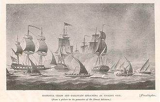 Maratha Navy - Maratha Grabs and Gallivats attacking a British East India Company ship