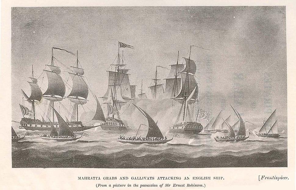 Maratha-Grabs-and-Gallivats-attacking-an-English-Ship