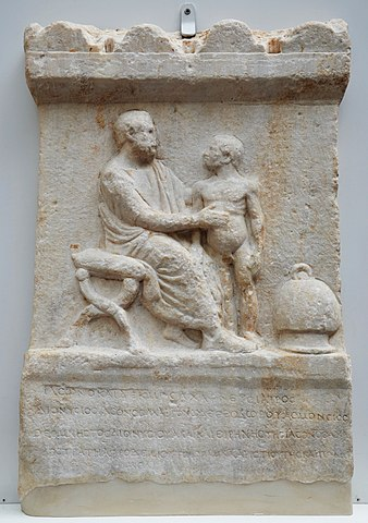 Greco-Roman relief of a physician and patient - Ancient Greek Medicine