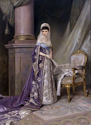 Lady-in-waiting of the Imperial Court of Russia - Portrait of Empress  Maria Feodorovna, by Vladimir Makovski in 1912. The Empress is wearing a regular Court dress