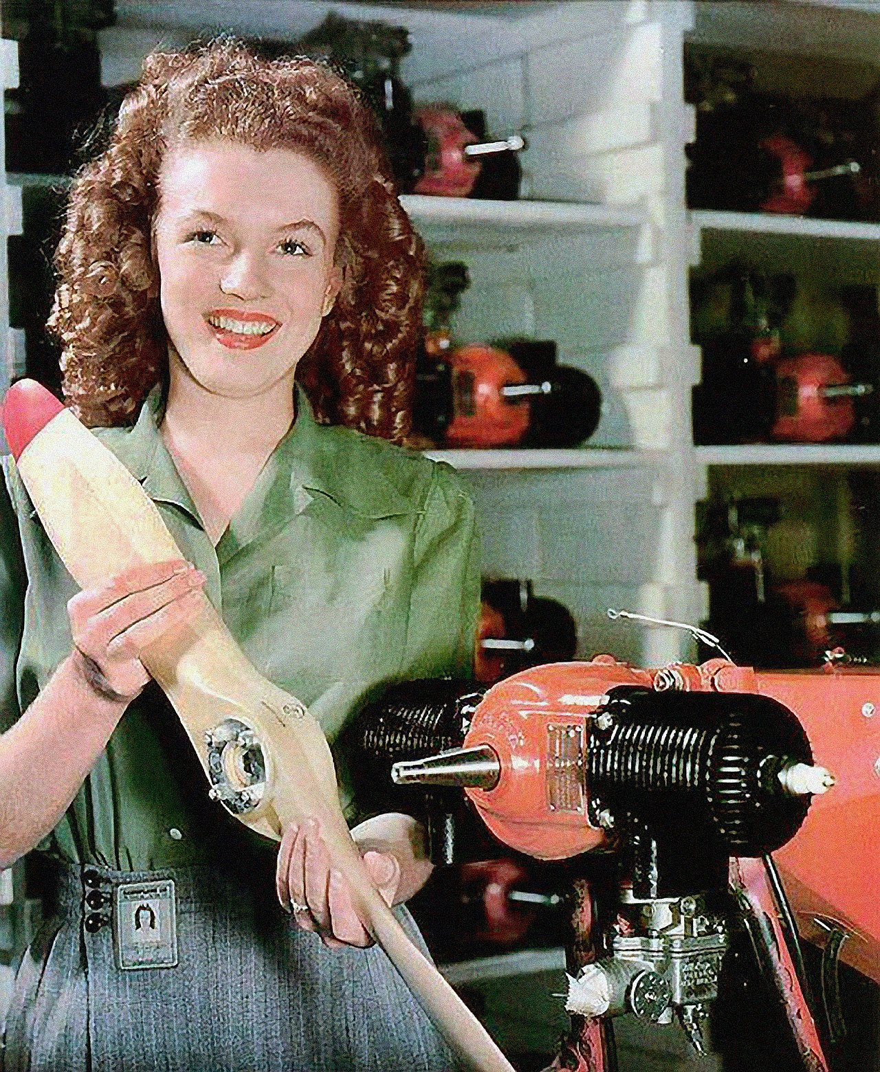 Portrait of Monroe aged 20, taken at the Radioplane Munitions Factory