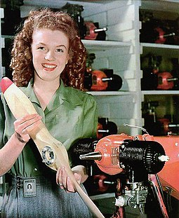 Photo by Conover of Monroe at the Radioplane Company in mid-1944 MarilynMonroe - YankArmyWeekly.jpg