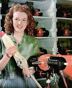 Marilyn Monroe - Monroe photographed by Conover while working at a radioplane factory in mid 1944