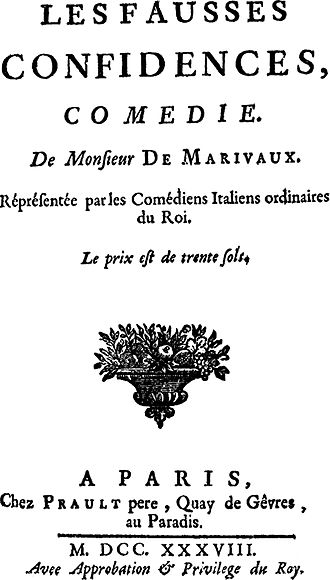 Les Fausses Confidences - Les Fausses Confidences: Princeps Edition, dated 1738