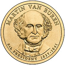 A golden coin with a portrait of a balding man wearing a cravat and facing forward