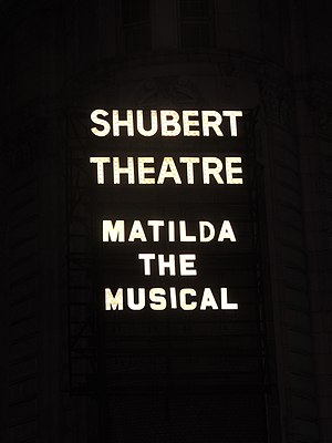 Matilda the Musical - Matilda the Musical marquee at the Shubert Theatre
