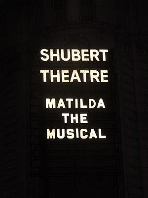 Matilda the Musical - Matilda the Musical marquee at the Shubert Theatre