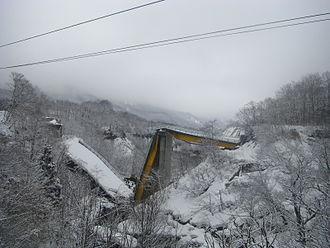 2008 Iwate–Miyagi Nairiku earthquake - Damaged bridge at Matsurube Ohashi