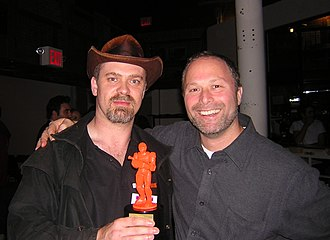 Machinima - Matt Kelland of Short Fuze (left) and Keith Halper of Kuma Reality Games at the 2008 Machinima Film Festival with the Mackie award for Best Technical Achievement