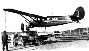 "Alaska Airlines - A Stinson ""S"" Junior aircraft of McGee Airways. McGee Airways was the precursor to present-day Alaska Airlines."