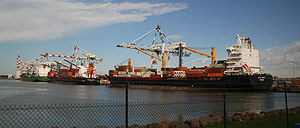 Port of Melbourne - Three container ships berthed at Swanson Dock West