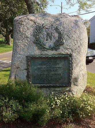 Sandwich, Massachusetts - Memorial to Benjamin Nye and Katherine Tupper